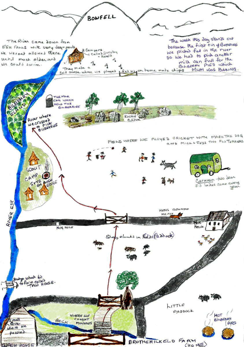 Margaret Crayston's memory-map of her Upper Eskside Walk: 'As a child, I walked this valley every day.'